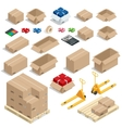 Cardboard Boxes Set opened or closed sealed with vector image