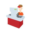 Cashier behind cash register icon cartoon style vector image
