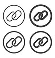 chain link icon shape sign button set vector image vector image