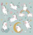 collection cute little unicorns rainbow vector image