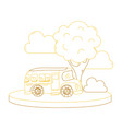 color line school bus in the city with clouds and vector image vector image