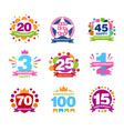 Colorful anniversary birthdays festive signs set