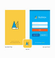 company cone cap splash screen and login page vector image