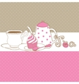 Cute card with tea cap pot and sweet cupcake vector image vector image