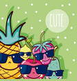 cute fruits cartoon vector image