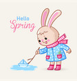cute greeting card with a bunny who launches a vector image vector image