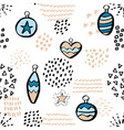 cute seamless pattern with christmas balls hand vector image vector image