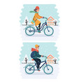 cyclist in winter with bike road sign low angle vector image