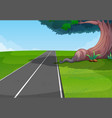 empty road through the park vector image