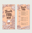 french food restaurant menu vintage template vector image vector image