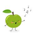 funny cartoon apple singer vector image vector image