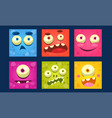 funny monsters set colorful mutant emojis cute vector image vector image