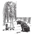 giraffe monkey looking at bear cub vintage vector image vector image