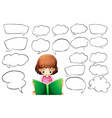 Girl reading and speech bubble templates vector image vector image
