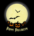 halloween party pumpkin bats and full moon vector image vector image
