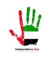Handprint with the Flag of United Arab Emirates in vector image
