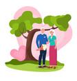 happy elderly couple in love standing under vector image