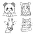 hipster animals fashion adult wild vector image vector image