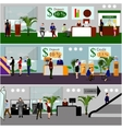 Horizontal banners with bank interiors vector image vector image