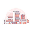 hospital building - modern thin line design style vector image vector image