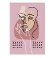 line woman portrait creative freehand composition vector image