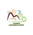 logo tennis summar camp fun cartoon logo vector image vector image