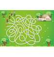 Maze game with family and house vector image vector image