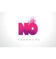 no n o letter logo with pink purple color and vector image vector image