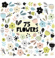 set of flowers and plants in scandinavian style vector image