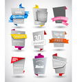 Set of grey paper labels with colored parts vector image vector image