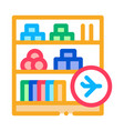 shelf with goods in duty free icon outline vector image vector image