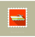Ship Boat flat stamp with long shadow vector image