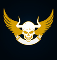 Skull with horns wings and emblem template vector image vector image