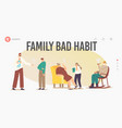 smoking family landing page template characters vector image vector image