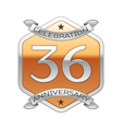 Thirty six years anniversary celebration silver vector image vector image
