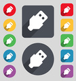 USB icon sign A set of 12 colored buttons and a vector image vector image