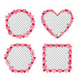 valentine heart frame transparent template vector image