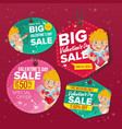 valentine s day sale love tags flat vector image vector image