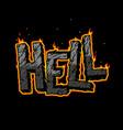 vintage fiery hell inscription concept vector image vector image