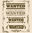 vintage wanted dead or alive western poster vector image vector image
