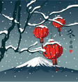 winter landscape with chinese paper lanterns vector image vector image