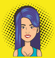 woman smiling face comic pop art style vector image