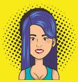 Woman smiling face comic pop art style