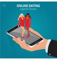 Online dating app concept Interracial couple app vector image
