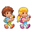 Boy and girl with ice cream vector image