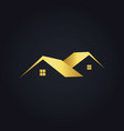 simple house icon gold logo vector image