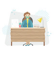 a girl in a protective medical mask at work viral vector image vector image
