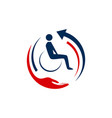 abstacrt medical transport with wheel chair logo vector image vector image