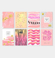 abstract card template set with golden glitter vector image vector image
