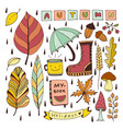 autumn doodles isolated elements for stickers or vector image vector image